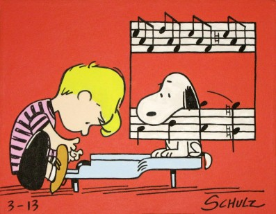 Schroeder studying piano